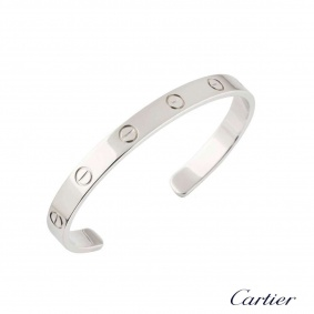 Cartier White Gold Love Cuff Bracelet Size 19 B6032519